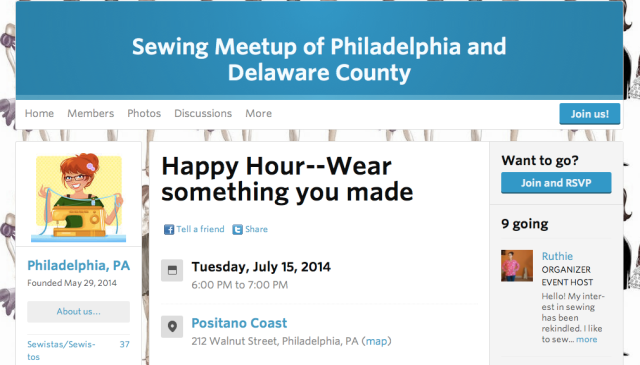 Sewing Meetup Philadelphia and Delaware County Sewista